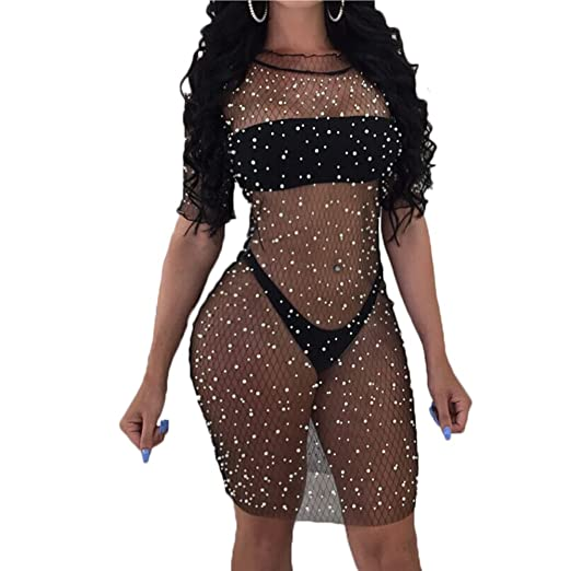ef957cd2da Multitrust Sexy Women Sequins See Through Mesh Bikini Swimsuit Cover Up  Dress Short Sleeve Swimwear Beach Cover-up at Amazon Women's Clothing store: