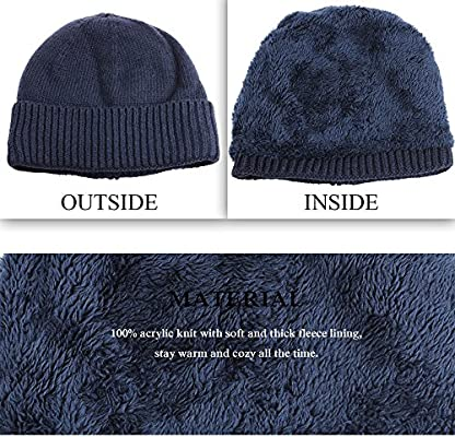JAKY Global Unisex Thick Cable Knit Beanie Hat Winter Cap Skull Windproof Men Women