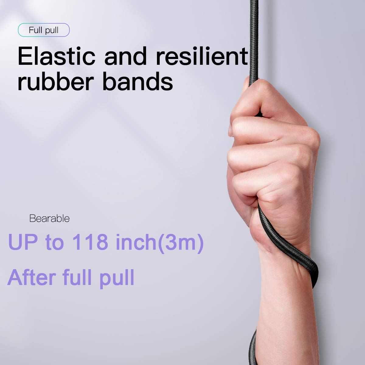 59 inch//1.5m Elastic Straps with Carabiner Hooks Retractable Travel Clothesline Buluby 3 Pack Bungee Cords with Hooks
