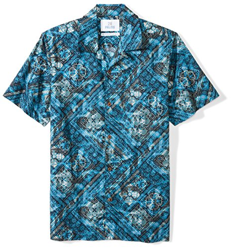 28 Palms Men's Standard-Fit 100% Cotton Tropical Hawaiian Batik Shirt, Tile Blue, Large
