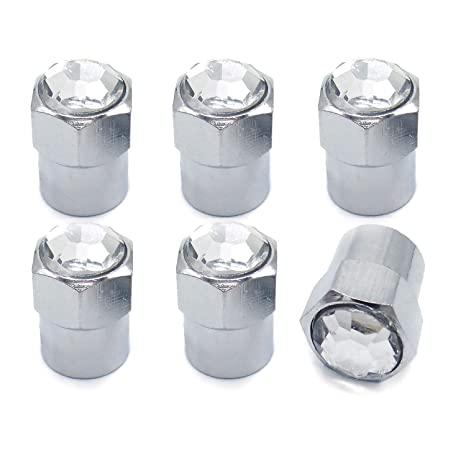 Sparkle Rider Crystal Rhinestone Diamond Bling Tire Valve Stem Caps -  Chrome Air Cover fits Schrader Valves - Cool Car, Motorcycle, Truck or  Bicycle