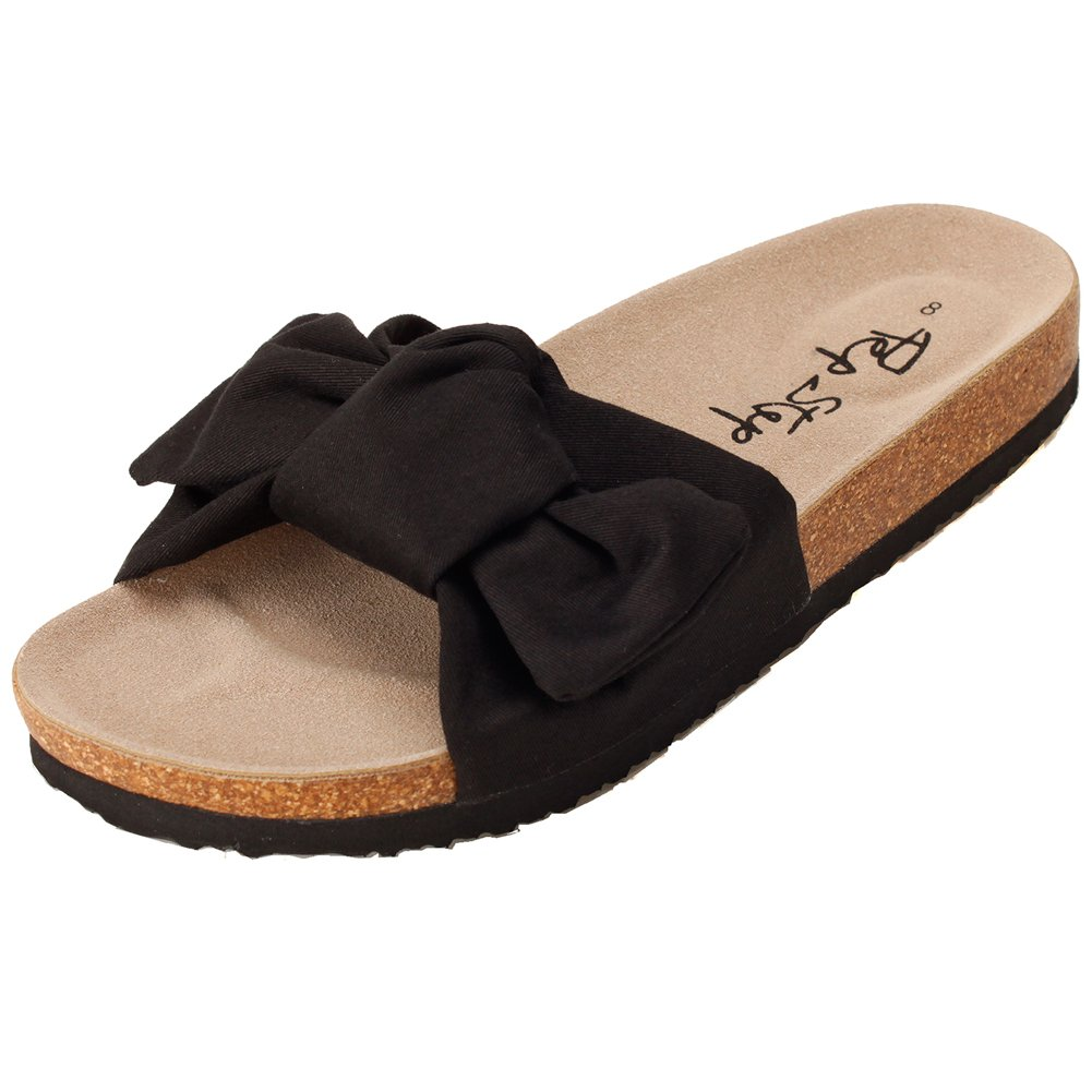 Pepstep Slide Sandals for Women/Cork Sole/Canvas Knot Bow/Womens Slides/Sandals for Women(8, Black)