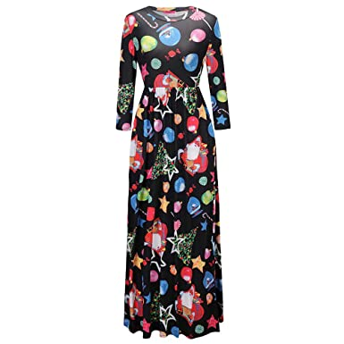 PASATO Clearance Sale!Womens Casual Christmas Print Long Sleeve Evening Party Prom Dress Shirt Dress