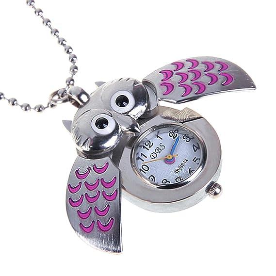 SuntekStore Online - Lindo mini búho collar reloj de bolsillo - plata y rosa: Amazon.es: Relojes
