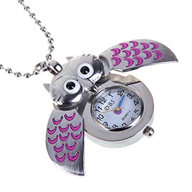Cute mini owl pocket watch necklace silver and pink amazon cute mini owl pocket watch necklace silver and pink mozeypictures Images