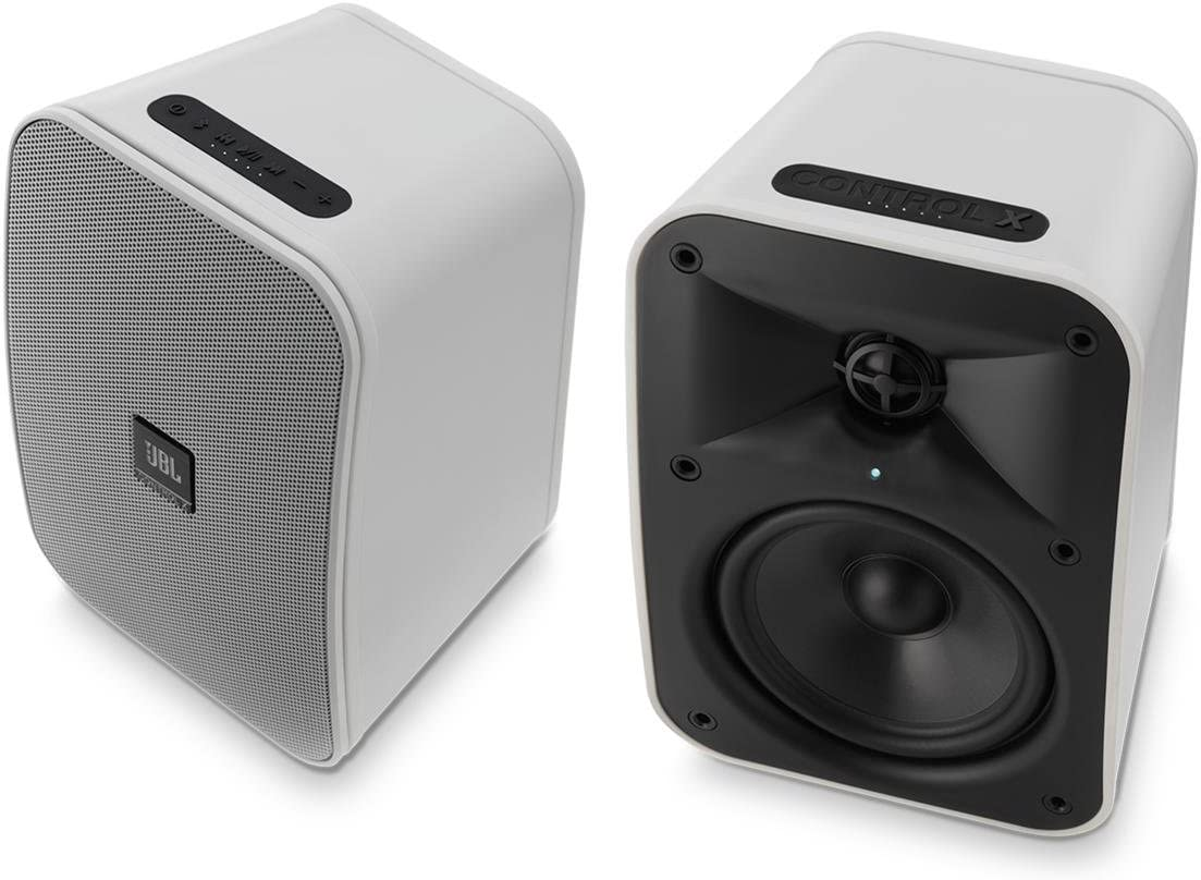 Pair White JBL Control X Wireless 5.25 Portable Stereo Bluetooth Speakers