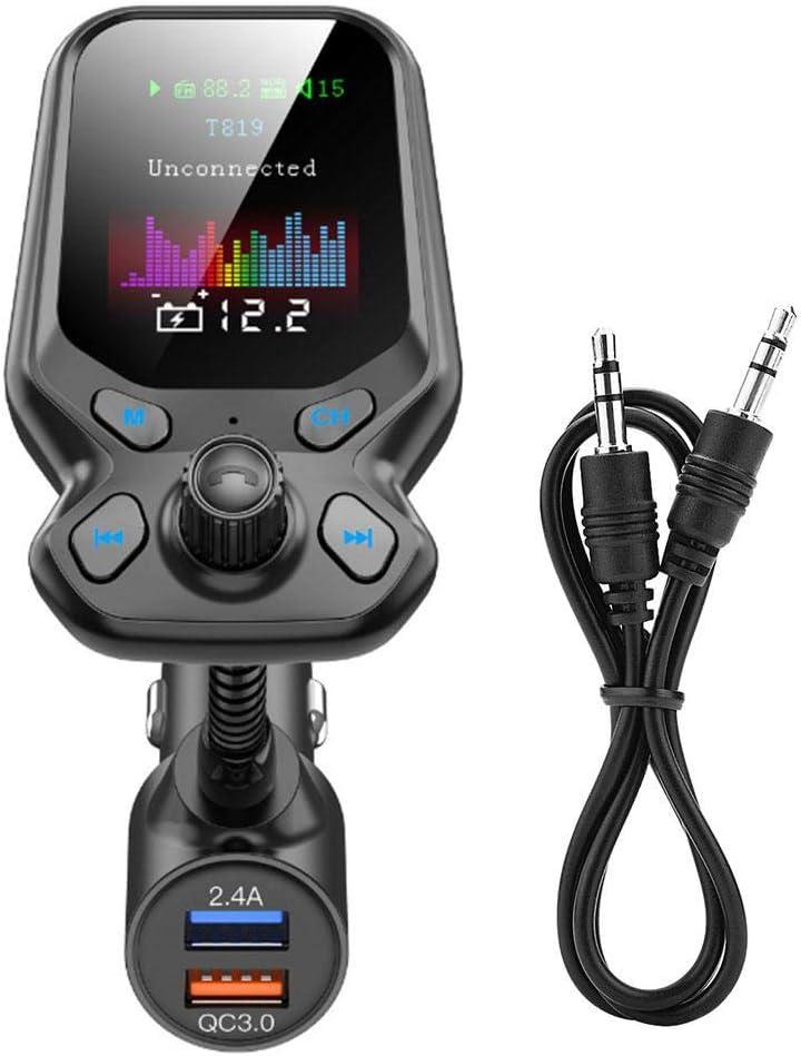 Adaptador de transmisor FM Bluetooth 5.0 para coche Reproductor de MP3 Reproductor de manos libres inal/ámbrico compatible con cargador QC3.0 Reproductor de MP3 Bluetooth para coche