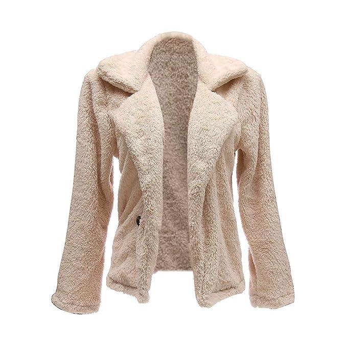 Amazon.com: AOJIAN Women Jacket Long Sleeve Outwear Plush Button Pure Color Turn Down Collar Coat: Clothing