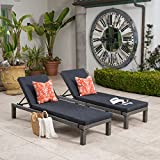 Christopher Knight Home 299932 Venice Outdoor Mixed Black Wicker Chaise Lounge with Dark Grey Water Resistan, Set of 2,