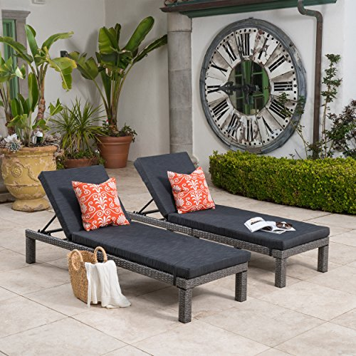 (Great Deal Furniture Venice Outdoor Mixed Black Wicker Chaise Lounge with Dark Grey Water Resistant Cushion (Set of 2))