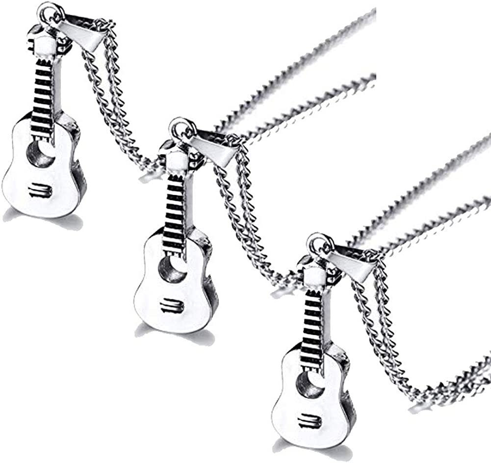 VNOX Keepsake Memorial Jewelry Stainless Steel Guitar Shape Cremation Ash Urn Pendant Necklace for Unisex