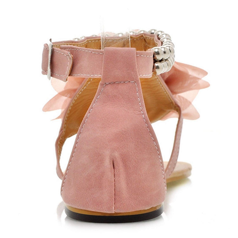 Fairly Big Gladiator Bohemia Beaded Summer Flower Flat Heels Flip Flops Shoes tstraps,Sky Blue,6