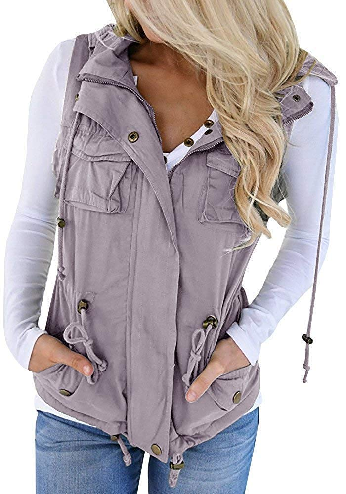 Soulomelody Womens Military Anorak Sleeveless Vest Safari Utility Drawstring Lightweight Hoodies Jacket with Pockets Grey by Soulomelody