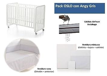 Bolin Bolon Pack Cuna-minicuna colecho OSLO completa ANGY GRIS: Amazon.es: Bebé