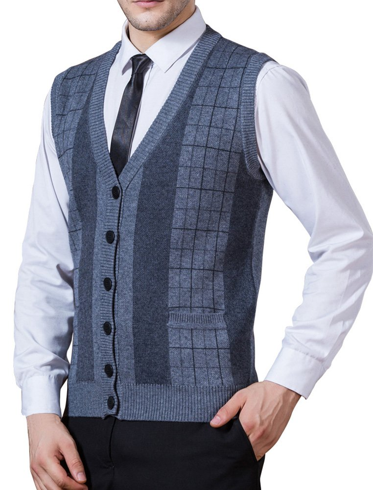 Zicac Men's Business V-Neck Assorted Color Knitwear Vest Cardigan Sweater (XL, Thick Style - Grey)