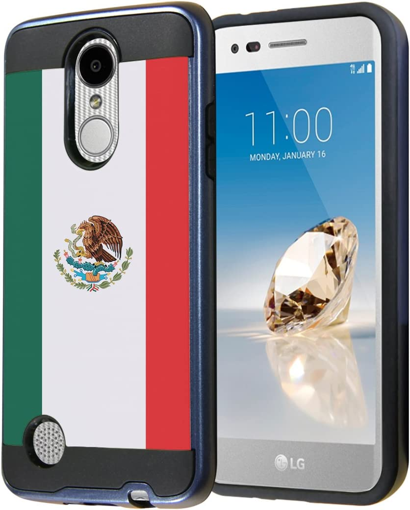 LG Aristo Case, LG Fortune Case, LG Phoenix 3 Case, Capsule-Case Dual Layer Slick Armor Case (Black & Blue) for LG Aristo / Fortune / Phoenix 3 / K4 2017 / K8 2017 - (Mexico Flag)