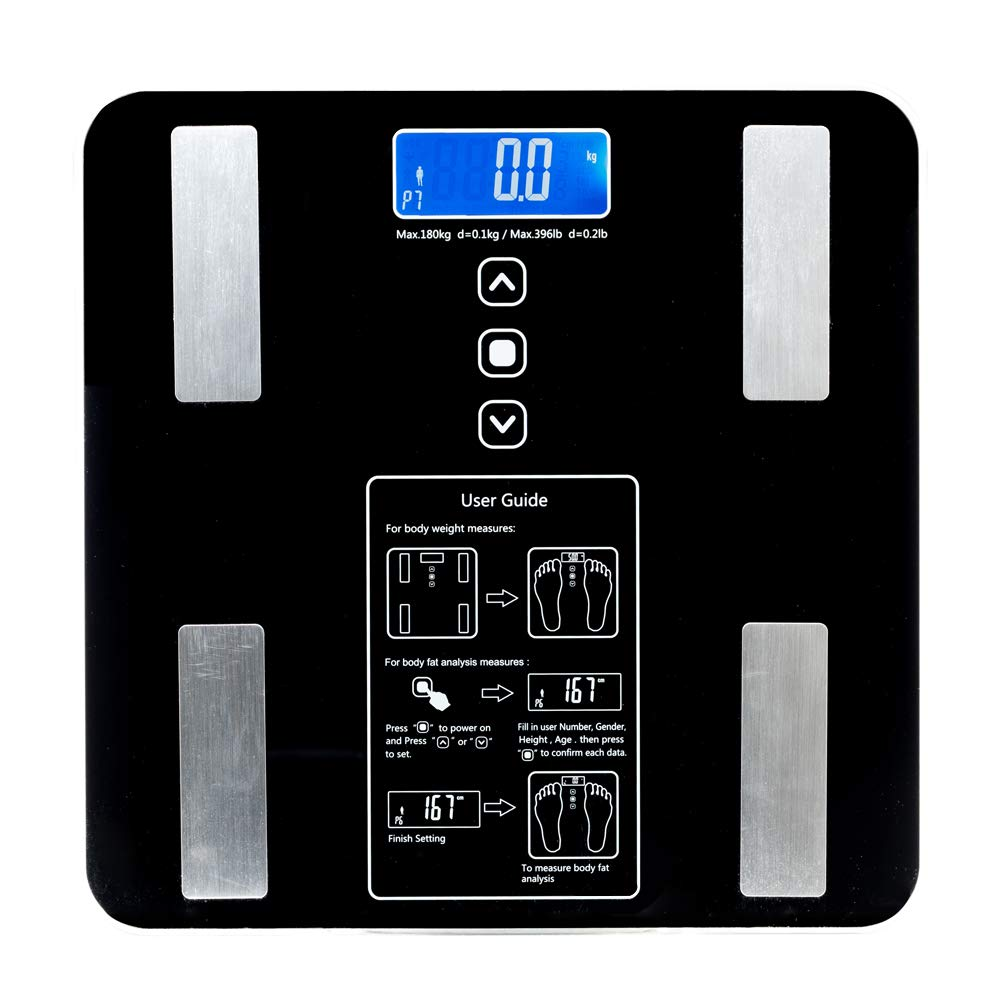 BF1606-B 180kg/100g Digital Body Fat Scale Health Analyser Fat Muscle BMI Black