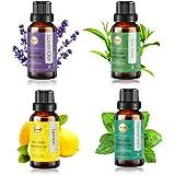 ANEAR Essential Oil, 4pcs x 20ml set Non-Water Soluble, Lavender, Tea Tree, Peppermint, Lemon, Pure, Natural, Cruelty…