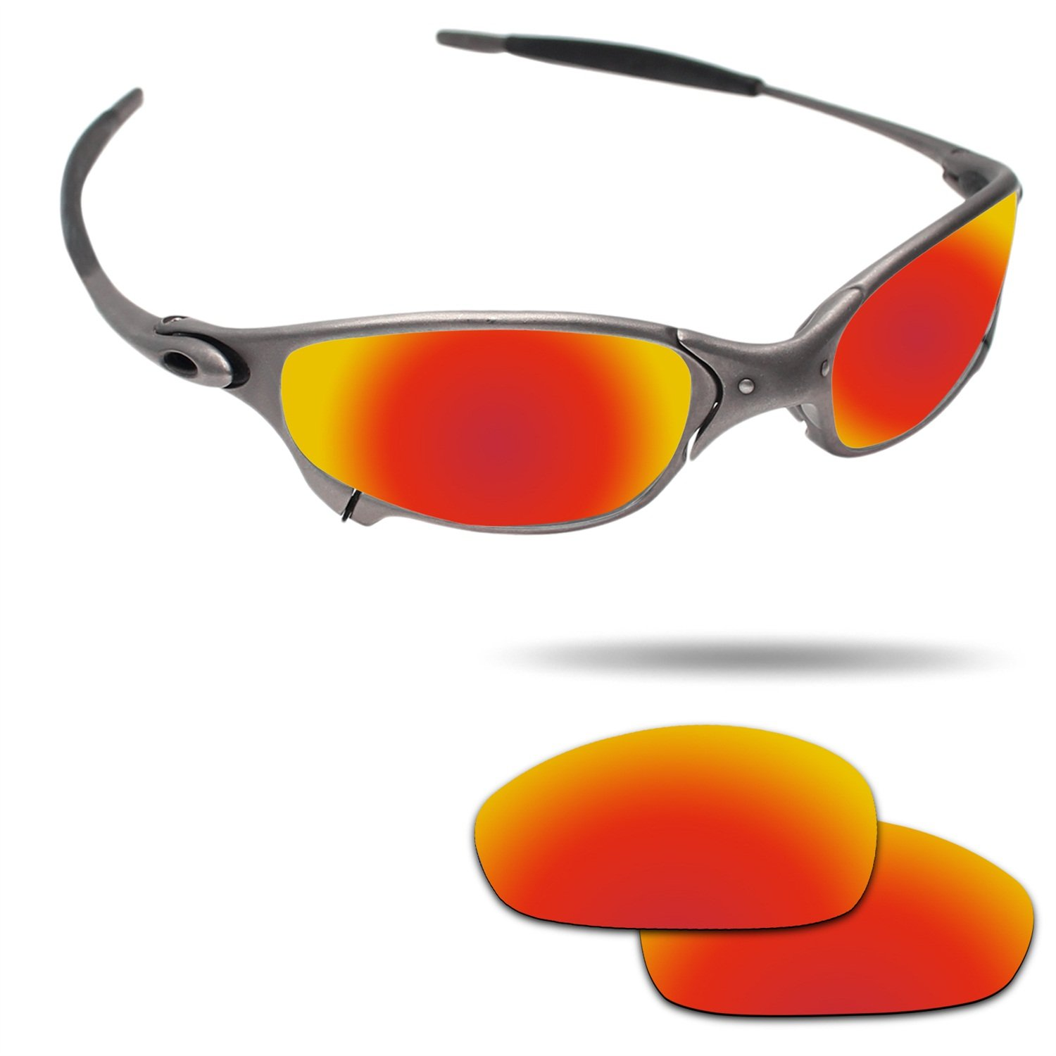 Fiskr Anti-saltwater Polarized Replacement Lenses for Oakley Juliet Sunglasses - Various Colors (Fire Red - Anti4s Polarized, 0)
