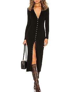 0cd621c883fb cmz2005 Women s Button Down Long Sleeve Sweater Dress Bodycon Party Maxi  Dress 6088