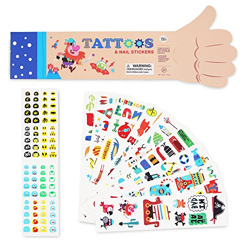 Tattoos Temporary Nail (Jar Melo Temporary Tattoos and Nail Stickers for Boys; Colorful Nail Art for Kids; Baby's Nail Decals, Cartoon Tattoo Stickers; Waterproof and Non-Toxic, Blue; 180+Stickers)