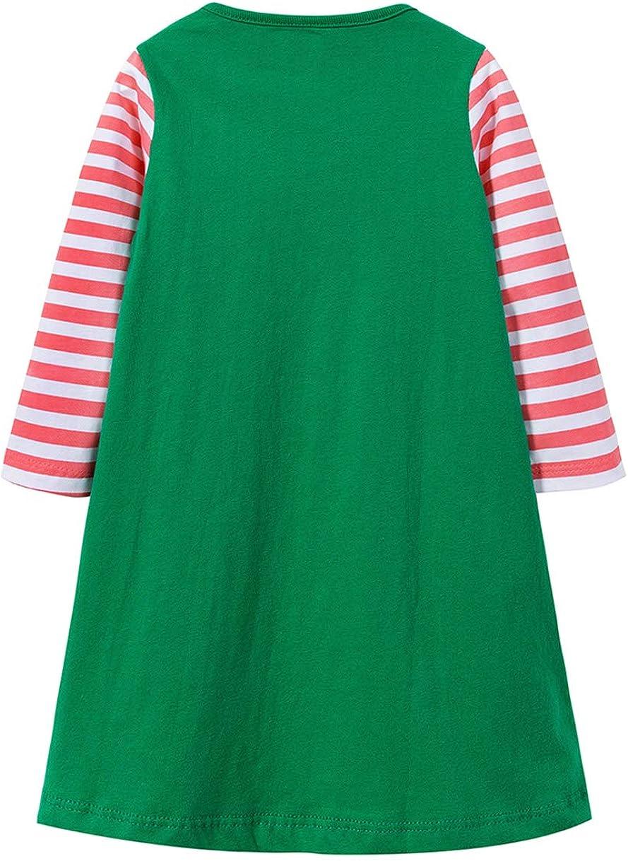 AmzBarley Unicorn Dress Girls Long Sleeve Cotton Cartoon Casual Dresses Kids Striped Nightdress