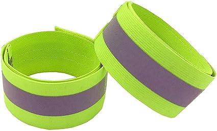 4 Pcs Green Orange Reflective Bands for Wrist Reflector Tape Straps Bracelet