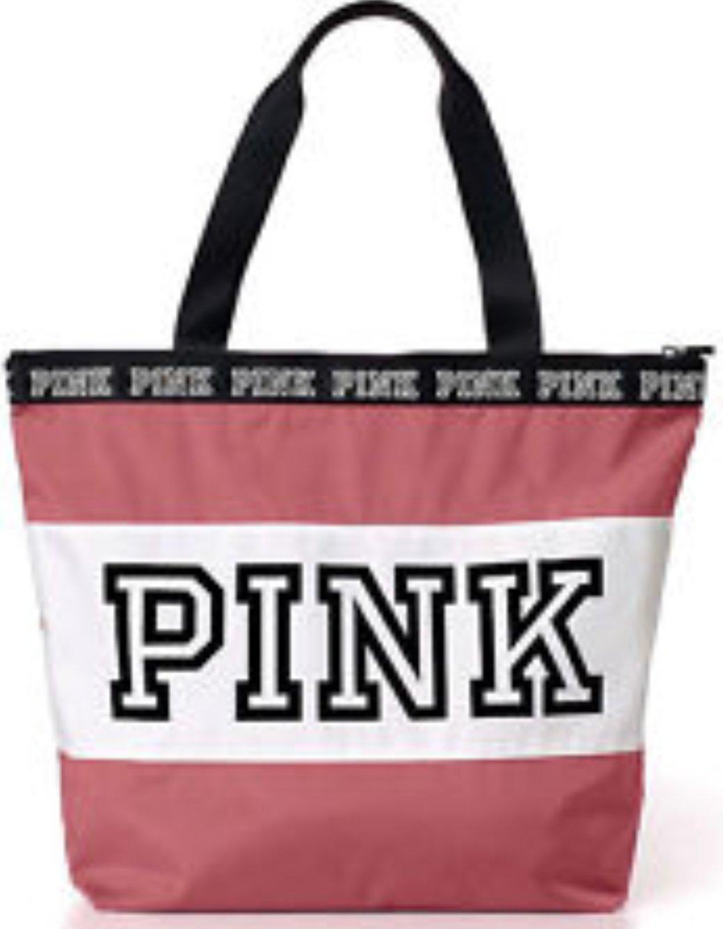 Victoria's Secret PINK Beach Travel Tote Zip Top Bag Begonia / Grey / Black (Begonia)