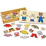 Melissa & Doug Mix 'n Match Wooden Bear Family Dress-Up Puzzle With Storage Case (45 pcs)