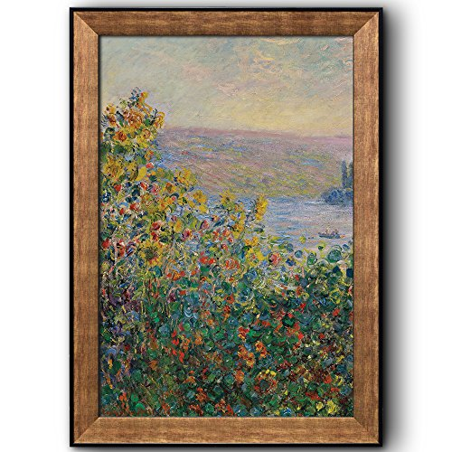 Flower Beds at Vétheuil by Claude Monet Framed Art