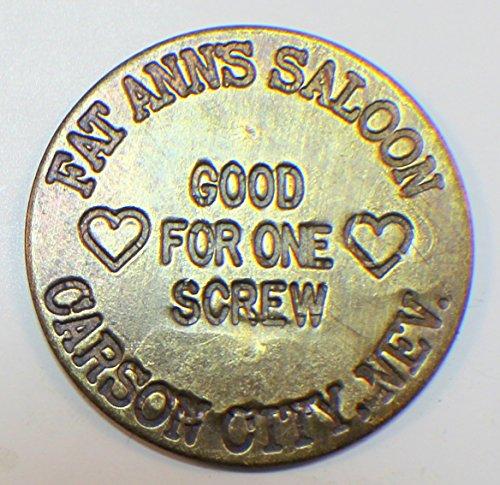 Company Token - Fat Anns Saloon Solid Brass Brothel Token