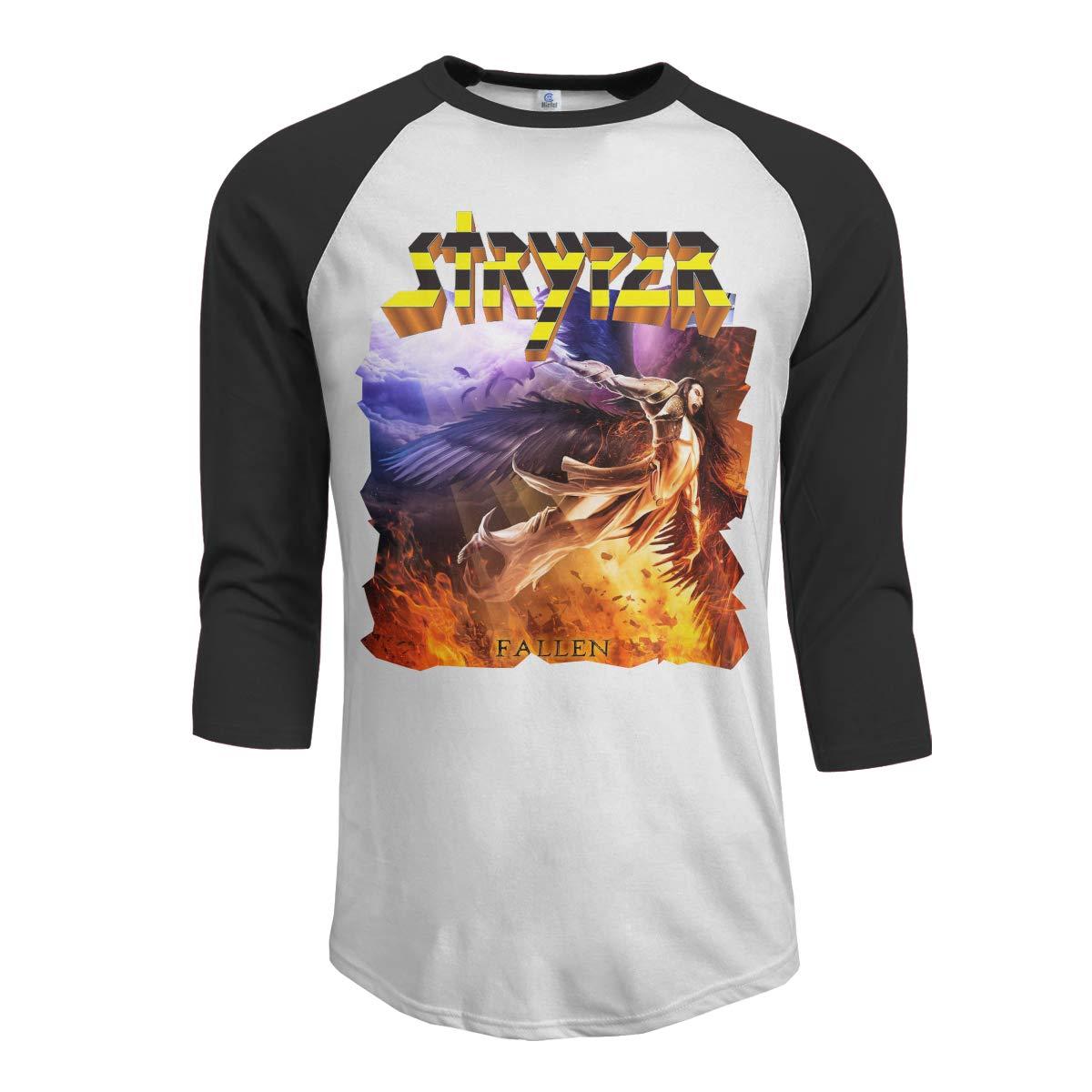 JeremiahR Stryper Fallen Mens 3//4 Sleeve Raglan Baseball T-Shirt Black