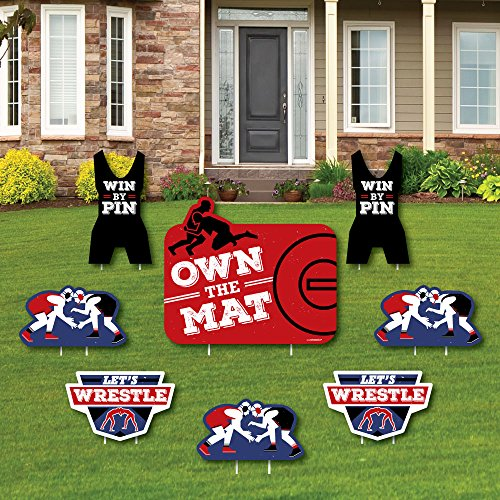 Big Dot of Happiness Own The Mat - Wrestling - Yard Sign & Outdoor Lawn Decorations - Birthday Party or Wrestler Party Yard Signs - Set of 8