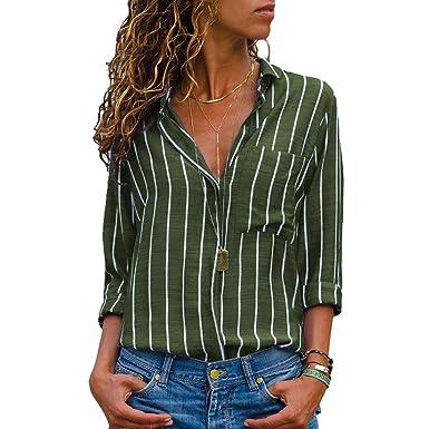 74f20d351ac86a SEBOWEL Green Blouses for Women Stripes Button Long Sleeve Chiffon Shirts  Tops S