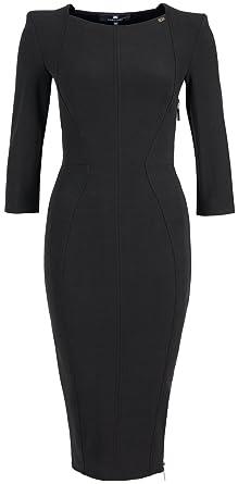 Kleid Schwarz Midi Mit Franchi Schnürung Elisabetta Damen Hinten DH29IWEY