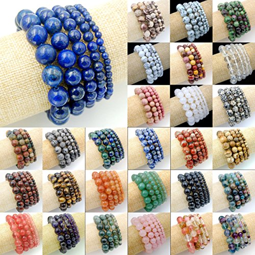 jennysun2010 Handmade Natural Gemstone Smooth Round Loose Beads 8mm Stretchy Bracelet Healing