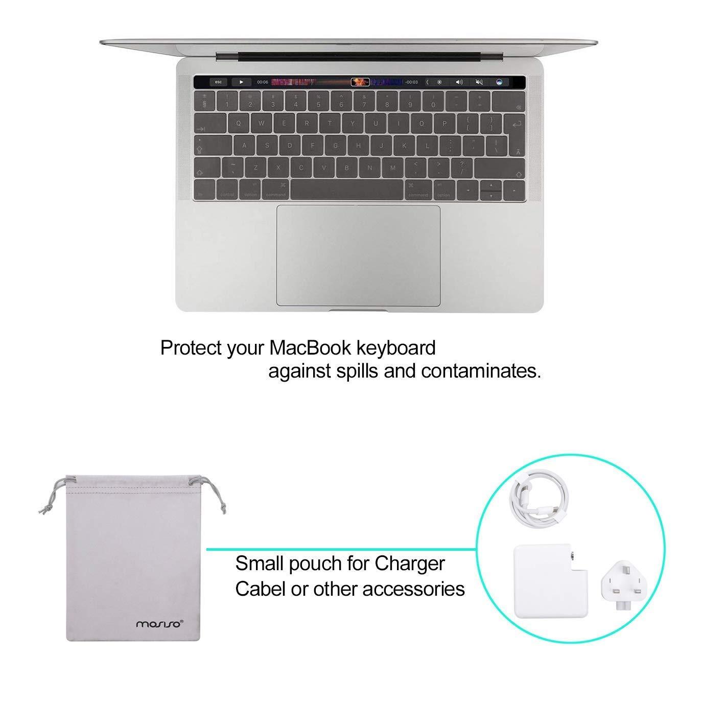 R/ígido Carcasa /& Cubierta de Teclado /& Protector de Pantalla /& Accesorios Bolsa MOSISO Funda Dura Compatible con 2019 2018 2017 2016 MacBook Pro 13 USB-C A2159 A1989 A1706 A1708 Azul Serenidad