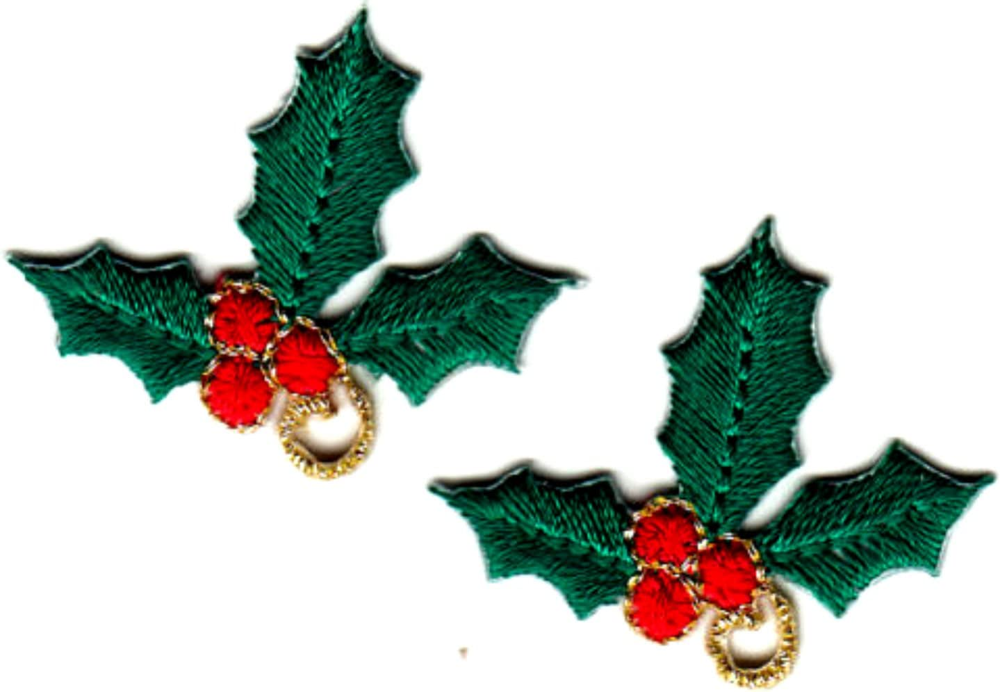 HOLLY WITH BERRIES Iron On Patch Christmas Decorations