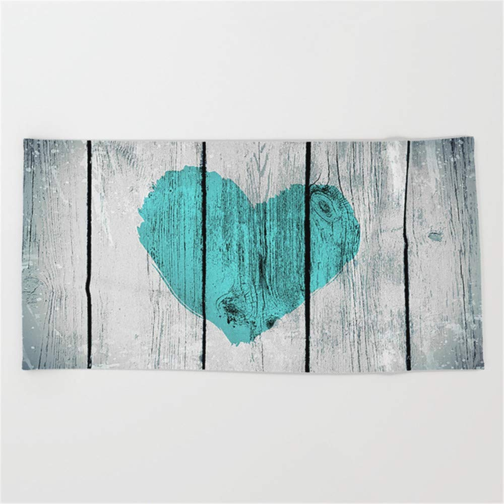 Huisfa Teal Rustic Heart on Country Wood Beach Towel 31.5''x51.2''