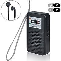 Lychee Radio Pequeña Portatil, Mini Radio de Bolsillo Pocket Am/FM 2 Bandas de Radio Estéreo Digital Tuning Receptor con Auriculares, Estéreo Altavoz (RD-213)
