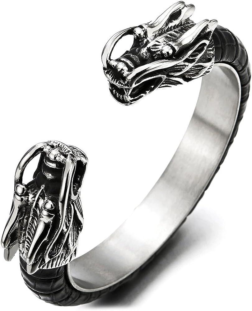 Para hombre acero inoxidable dragón brazalete incrustados con piel de color negro, elástica ajustable