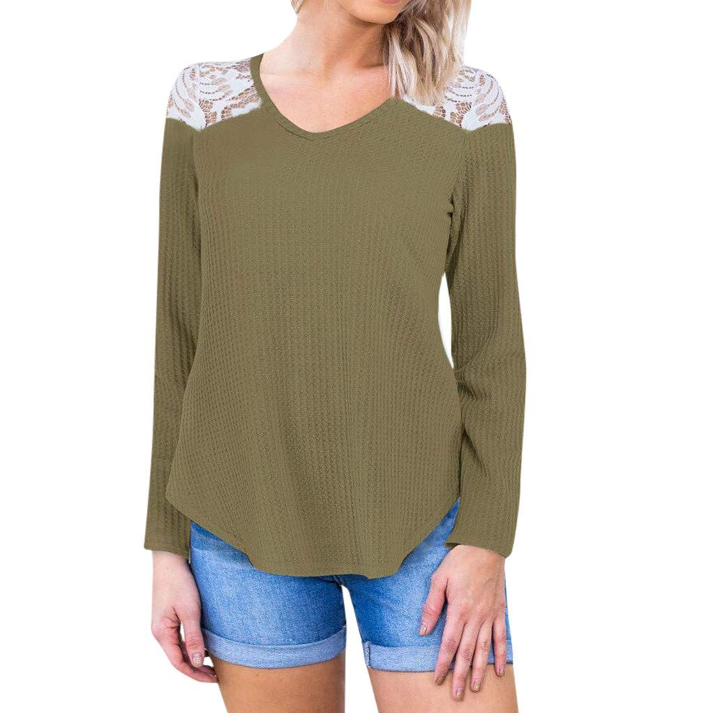 〓COOlCCI〓Fashion Womens Casual Lace Patchwork Long Sleeve Pullover Crop O-Neck T-Shirt Blouse Tops Slim Tunic Tops Army Green