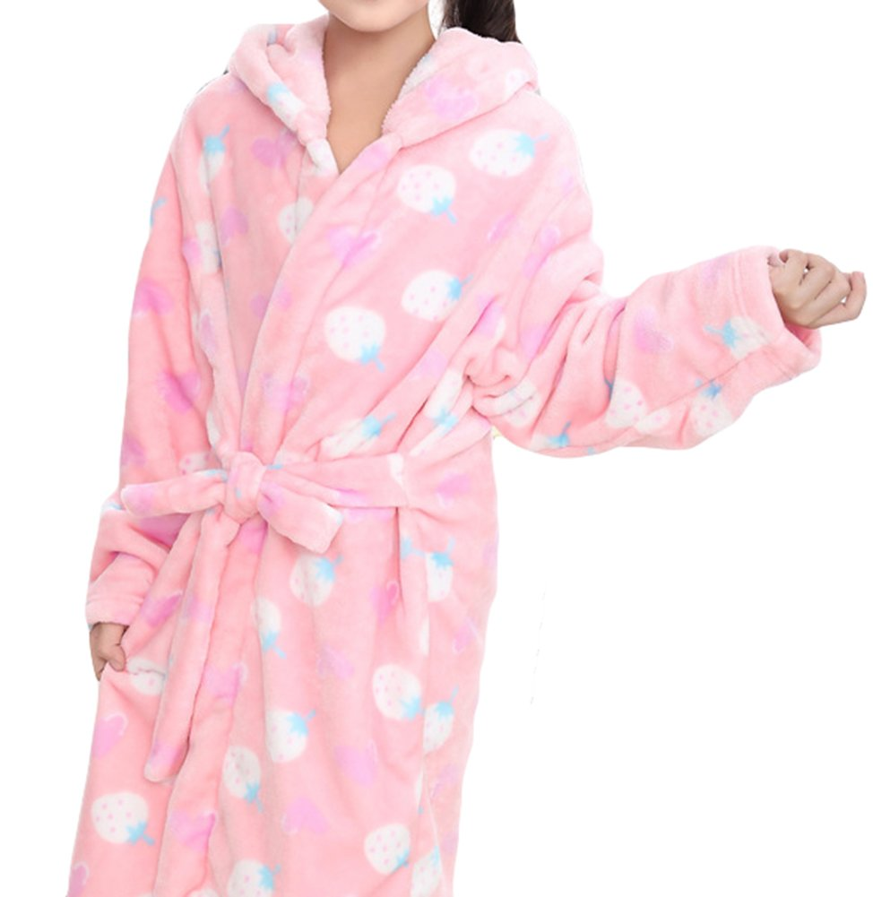 AGOWOO Little Big Kids Girls Flannel Hooded Bath Robe Pajama
