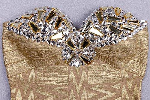 HLBandage Women Strapless Rhinestone Metallic Mini Bandage Dress Dorado