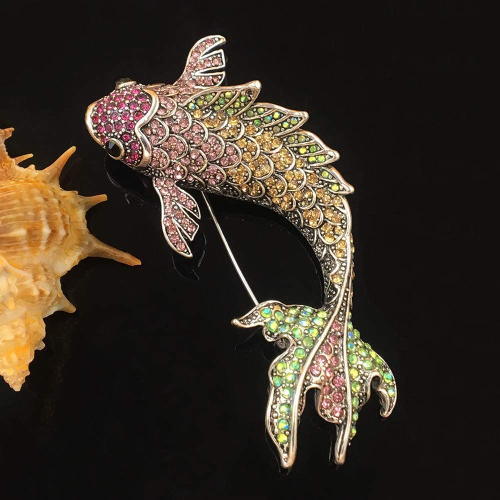 Earofcorn Exquisite Colorful Rhinestone Large Carp Pendant Brooches Animal Style Brooches Male Female Fashion Jewelry Coat Accessories