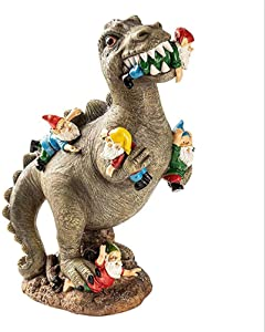 The Great Garden Gnome Massacre, Dinosaur Eating Gnomes Garden Art Decoration, Funny Resin Figurines Home Decor, Lawn Figurine for Indoor Outdoor Lawn Patio Yard Decoration (6.34.79.5inch)