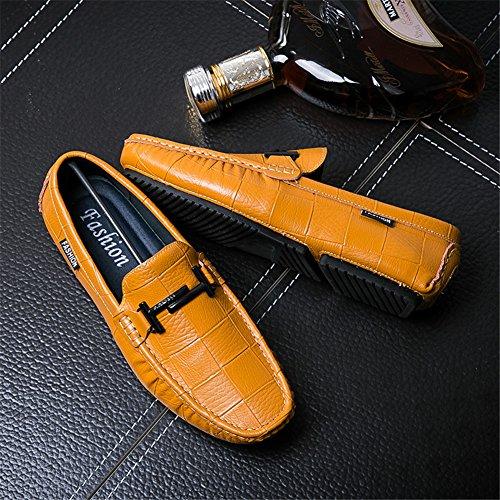 Fatte Driving Primavera Mano Outdoor Pelle Uomo Loafers Giallo Scarpe Mocassini Comode Autumn a Marrone wWAZ5SxACq