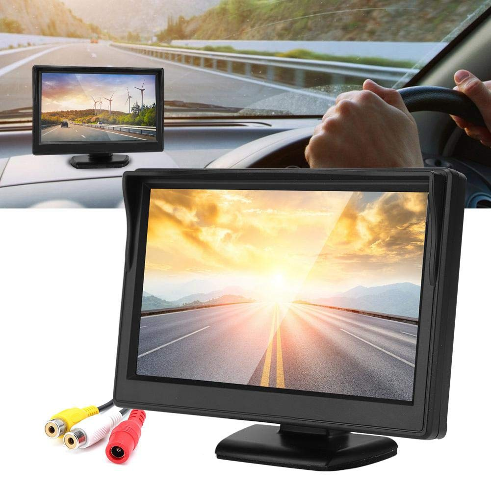 5 Pulgadas HD TFT Monitor LCD Impermeable C/ámara de Visi/ón Trasera Autom/óvil Soporta Sistema PAL//NTSC para C/ámara de Respaldo Autom/óvil. Monitor de Coche