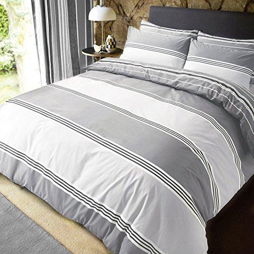 Sleepdown Banded Stripe Grey Juego de Funda de edredon tamano King, algodon, Gris, Matrimonio