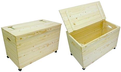 Arcón de madera con ruedas para herramientas, colada, leña, juguetes y utensilios